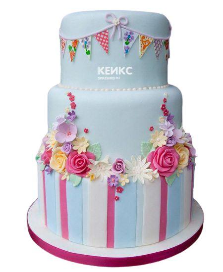 Торт с цветами для девочки 22