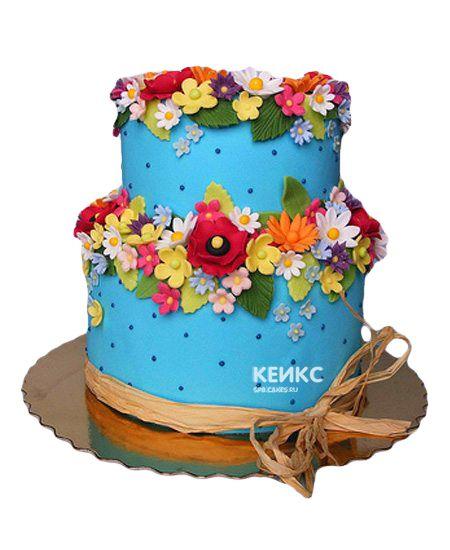 Торт с цветами для девочки 6