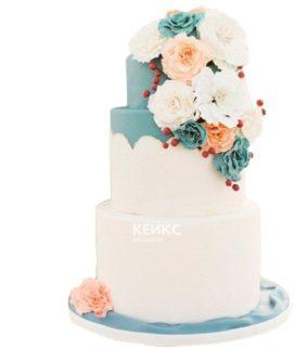 Торт бело голубой