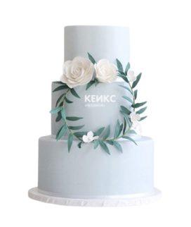 Торт бело голубой 4