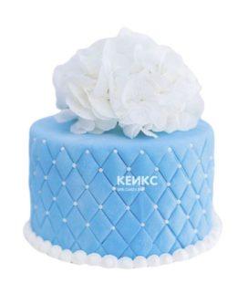 Торт бело голубой 5