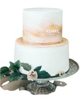 Торт бело золотой