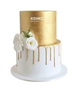 Торт бело золотой 4