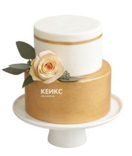Торт бело золотой 6