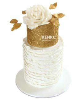 Торт бело золотой 9