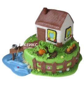 Торт домик в деревне-11