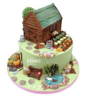 Торт домик в деревне-4