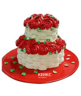 Торт корзина с цветами без мастики 2
