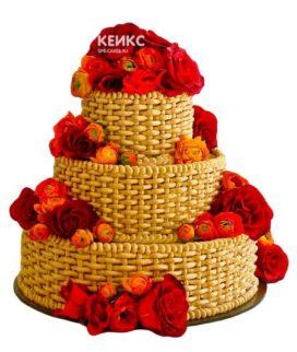 Торт корзина с цветами без мастики 8