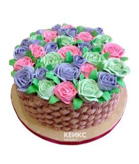 Торт корзина с цветами без мастики 3