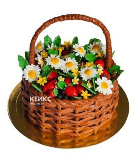 Торт корзина с цветами без мастики 4