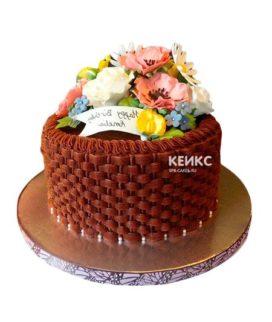 Торт корзина с цветами без мастики 5