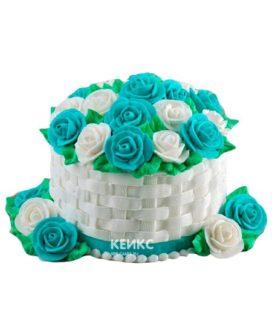 Торт корзина с цветами без мастики 6