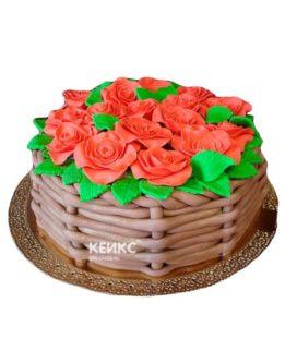 Торт корзина с цветами без мастики 7