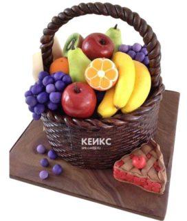 Торт корзина с фруктами и ягодами 7