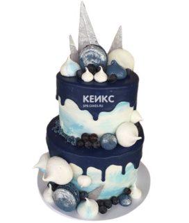 Торт сине белый 4