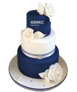Торт сине белый 7