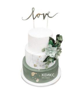 Свадебный торт зеленый 6