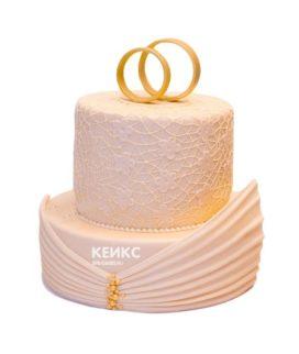 Торт свадебный с кольцами 3
