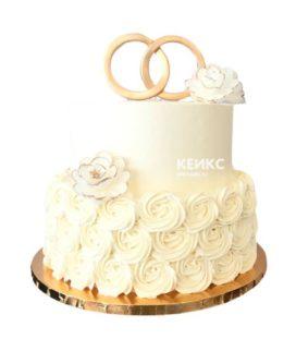 Торт свадебный с кольцами 5
