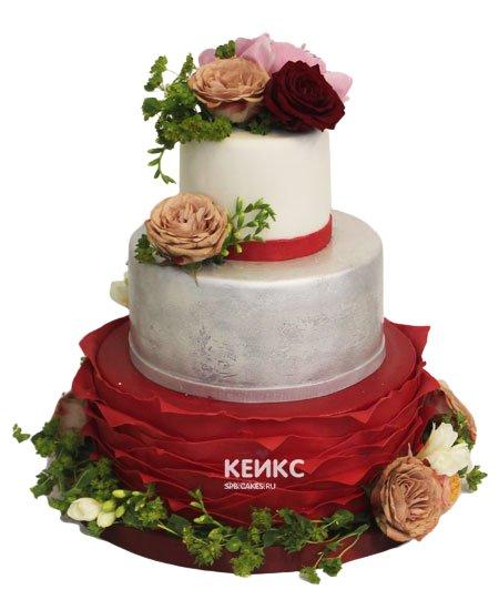 Свадебный торт красный 8