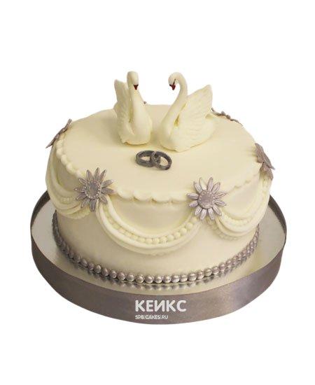 Свадебный торт с лебедями 6