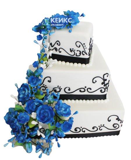 Свадебный торт синий 15