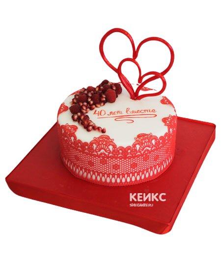 Торт на рубиновую свадьбу 7
