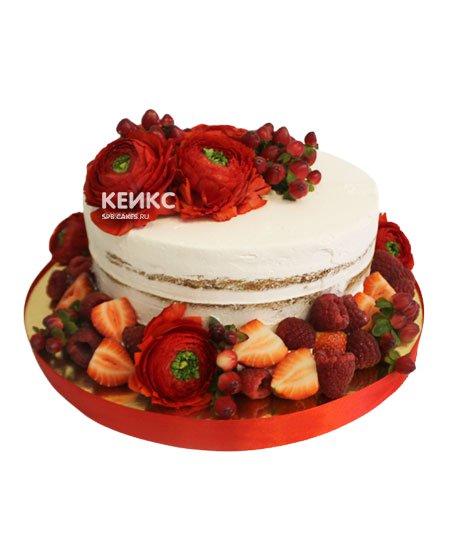 Торт с ягодами и цветами 7