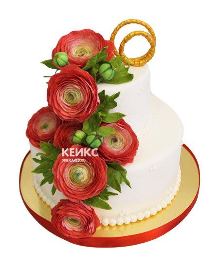 Торт свадебный с кольцами 6