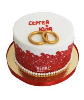 Торт свадебный с кольцами 7