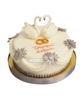 Свадебный торт с лебедями 12
