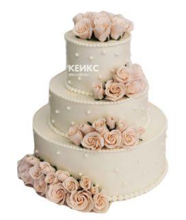 Свадебный торт бежевый 10