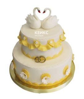 Свадебный торт с лебедями 10