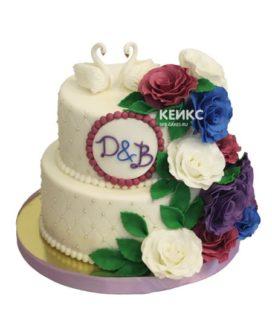 Свадебный торт с лебедями 11