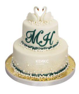 Свадебный торт с лебедями 7