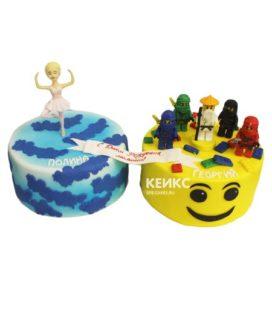 Торт для двойняшек мальчику и девочке 11