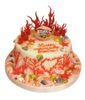Торт на коралловую свадьбу 11