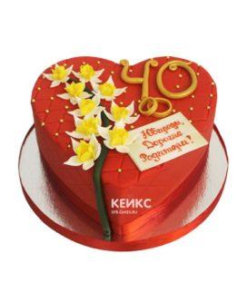 Торт на рубиновую свадьбу 8