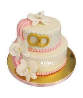 Торт свадебный с кольцами 11